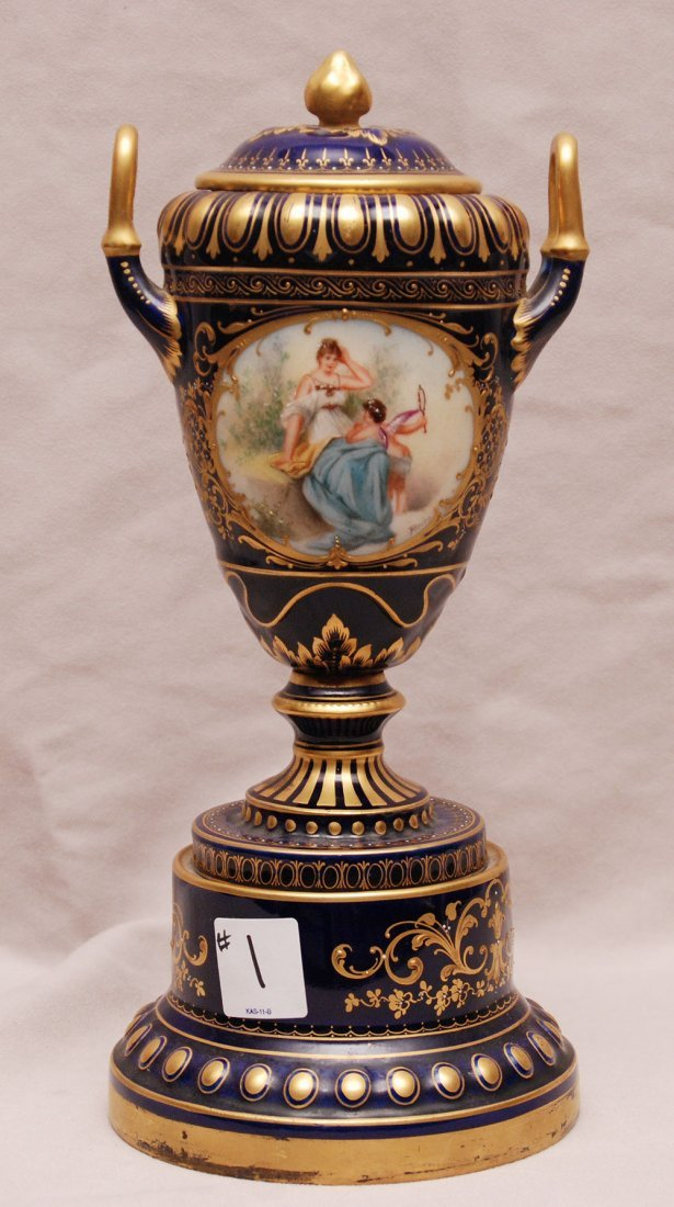Royal Vienna urn with cobalt blue and gold accents, rom