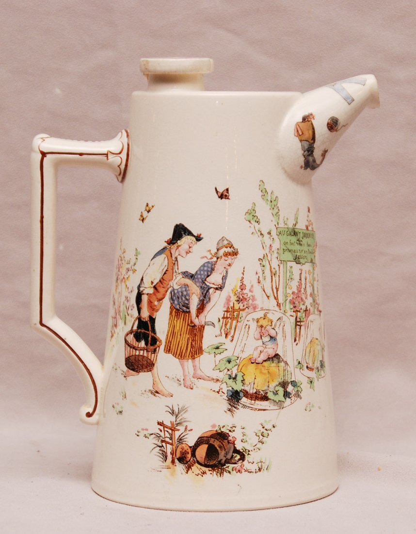 "Whimsical French ceramic seltzer mixer, bottom reads ""A"