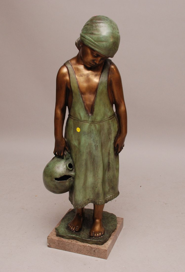Large Bronze of Young Girl by Vincenzo Aurisicchio 43in