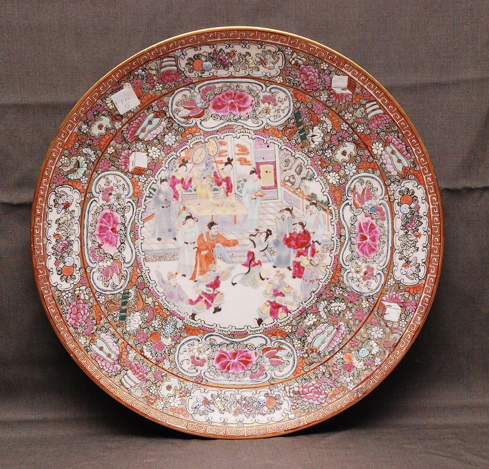 "20th c. Rose Medallion charger, 18 ""dia"