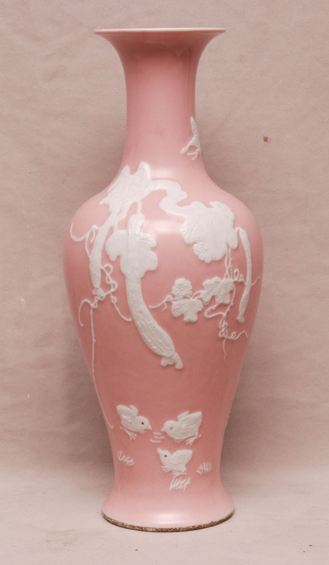 Chinese vase, pink background with white veining leaves