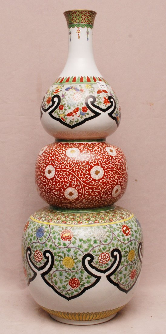 "Chinese triple gourd shape vase, multi color, 24""h"