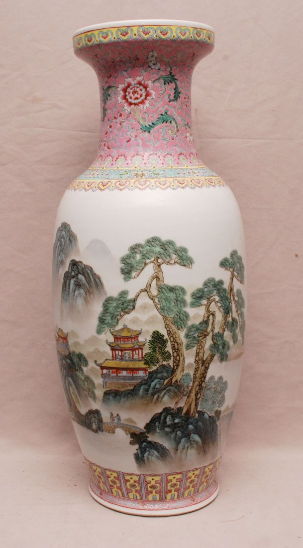 Chinese vase, urn shape with multi color landscape, 24""