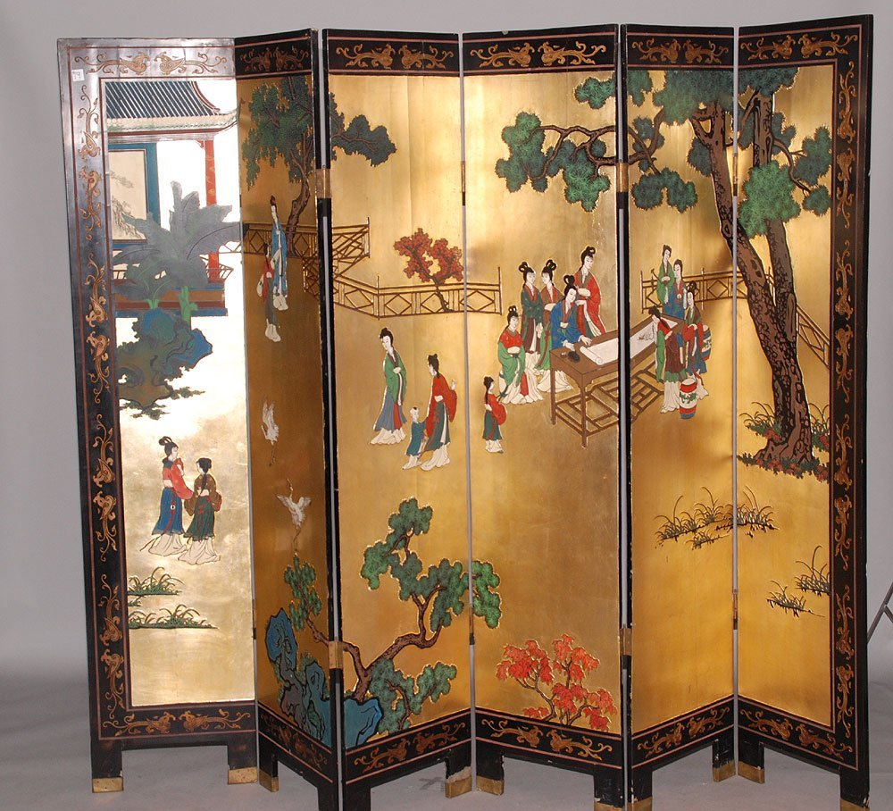 "Black lacquer 6 panel oriental screen, each panel 72""h"