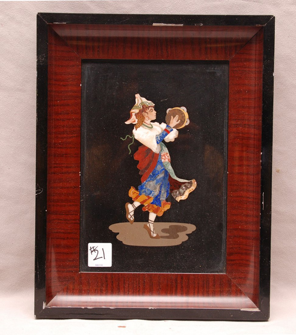 Pietra Dura plaque of young female musician in rosewood