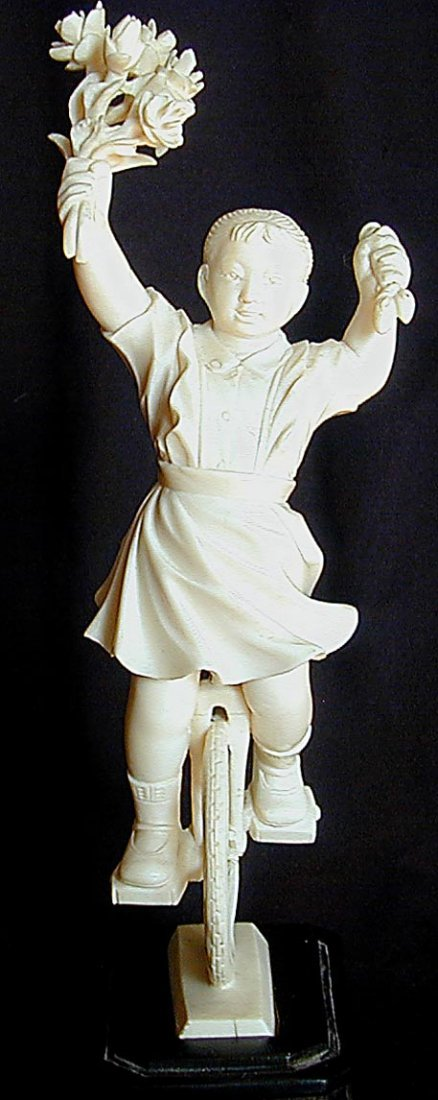 CHINESE CULTURAL REVOLUTION IVORY GIRL ON UNICYCLE A ra