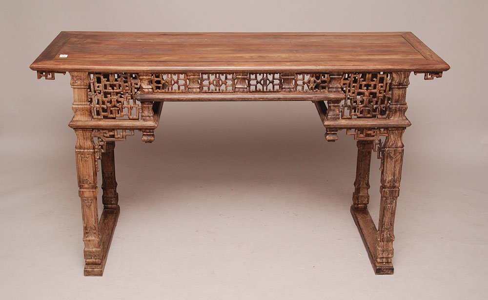 Chinese carved exotic wood altar table, 19th c. Zitan