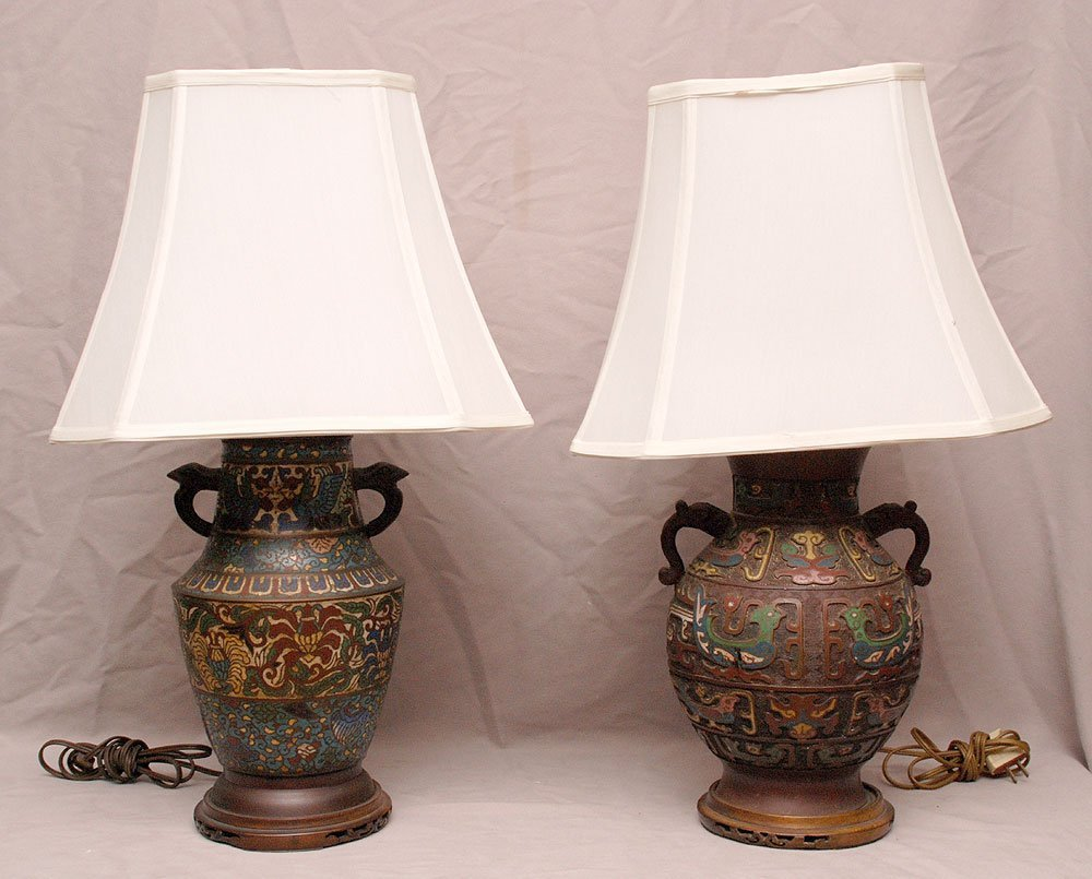 "2 non-matching champleve lamps, 22""h each"
