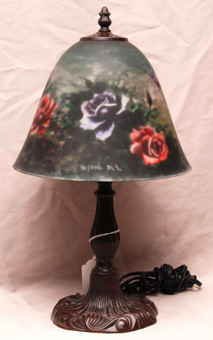 Lamp, reverse rose motif painting on glass shade, bronz