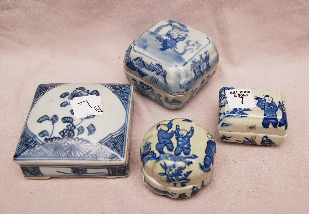 4 miniature Chinese covered boxes