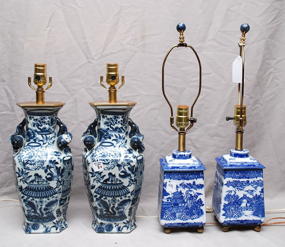 Two pairs of Blue and white oriental lamps