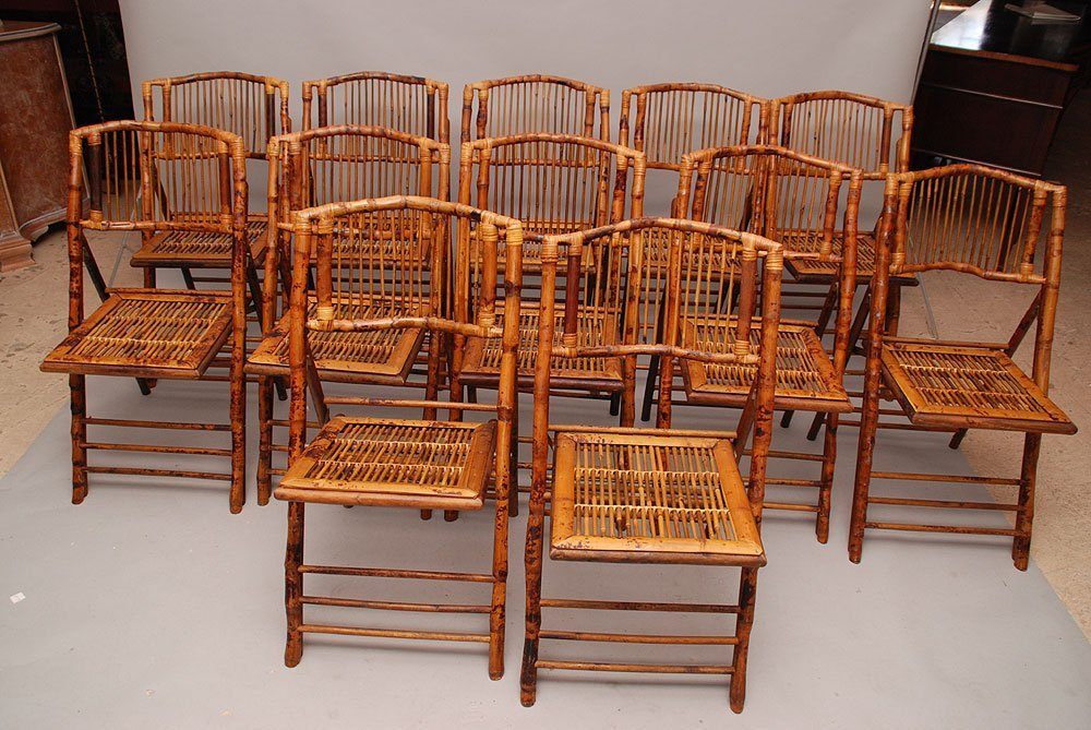 Twelve folding bamboo side chairs, excellent condition