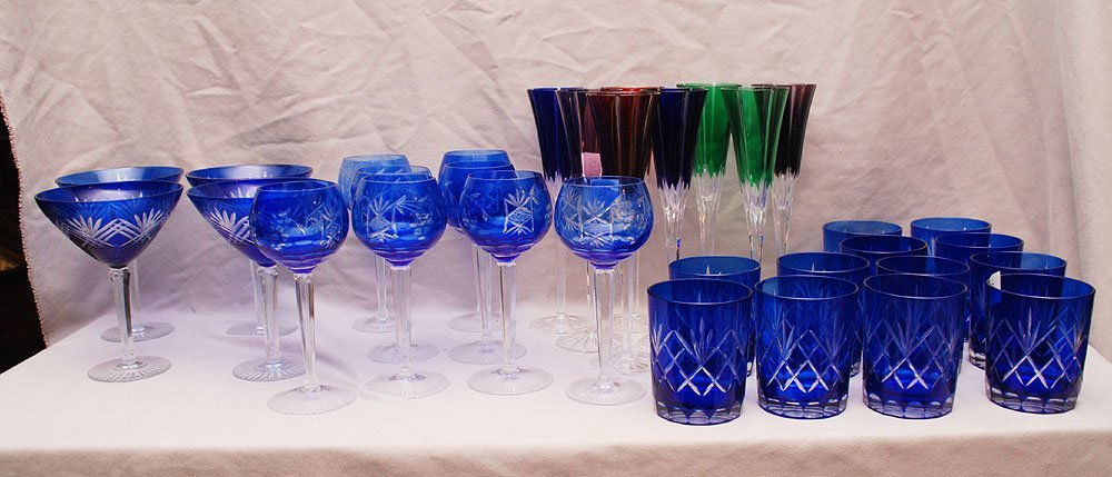 32 assorted, mostly cobalt tumblers and stemware