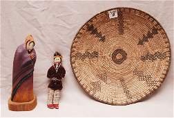 """Set of 3 American Indian items. One Flat Basket 2"""" x 12"""