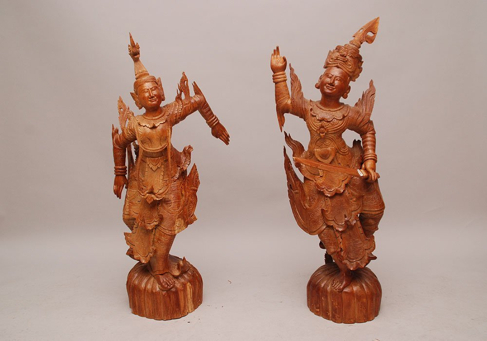 "2 Thai wood dancing male and female figures, 43""h (one"