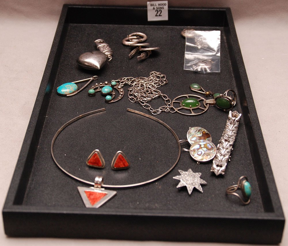 Odd assorted silver Jewelry along with silver and green
