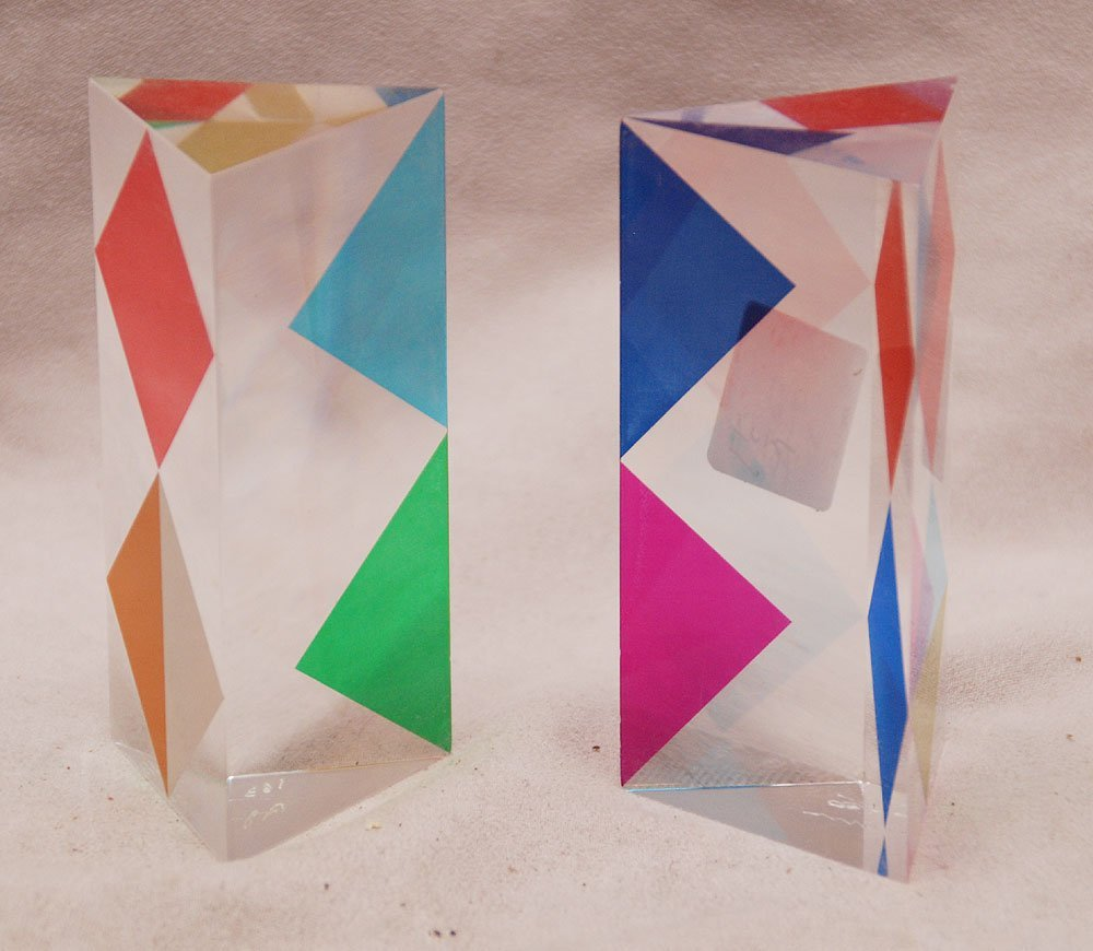 "two small Acrylic sculptures by ""Agam""  #163/180 , 4inc"