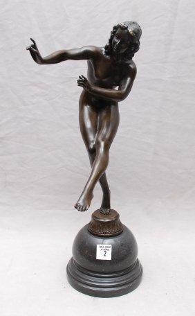 """Bronze nude dancer, 14""""h"""