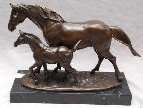 """Bronze mare and colt, 8""""h x 10""""w"""