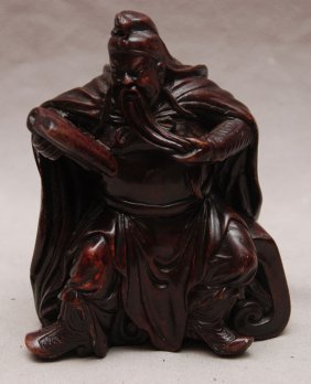 """Hard stone Chinese man with book, 6""""h"""