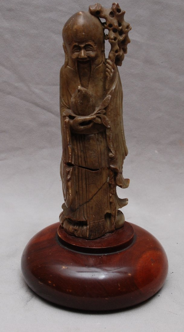 "Hard stone Chinese Wiseman as is restored, 9""h"
