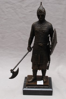 "Bronze Knight With Long Axe, 12""h"