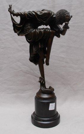 """Bronze snake dancer, after Clodion, 12""""h"""