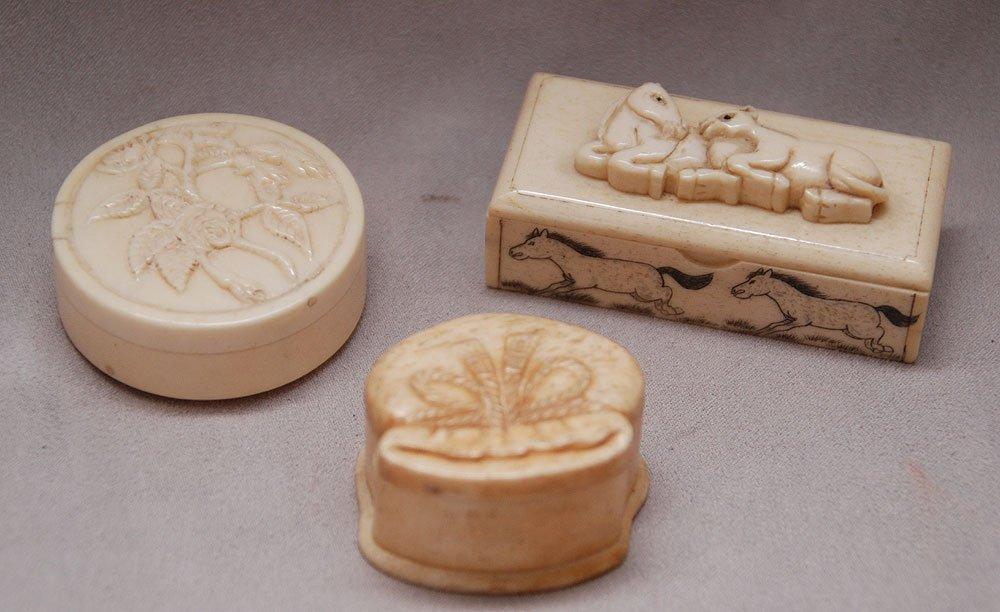 3 miniature marine ivory boxes