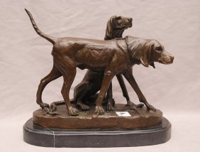"""2 bronze bloodhounds, after A. Cain, 8 3/4""""h x 11""""w"""