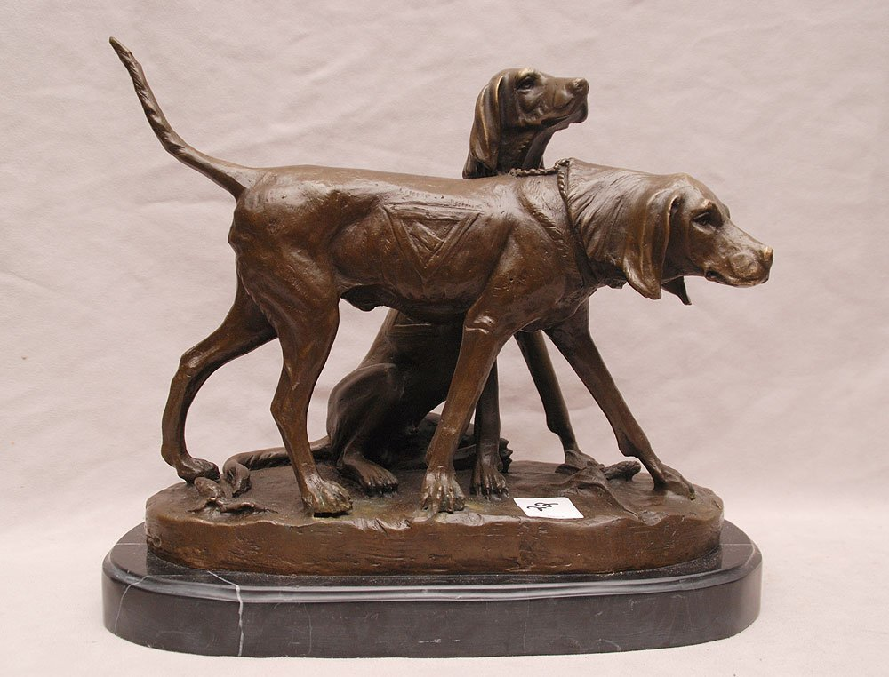 "2 bronze bloodhounds, after A. Cain, 8 3/4""h x 11""w"
