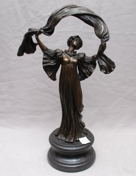 "Bronze Edwardian woman, detailed, 14""h"