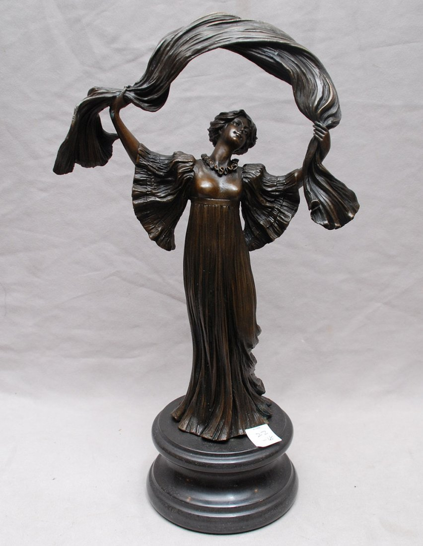 "Bronze Edwardian woman, detailed, 14""h"
