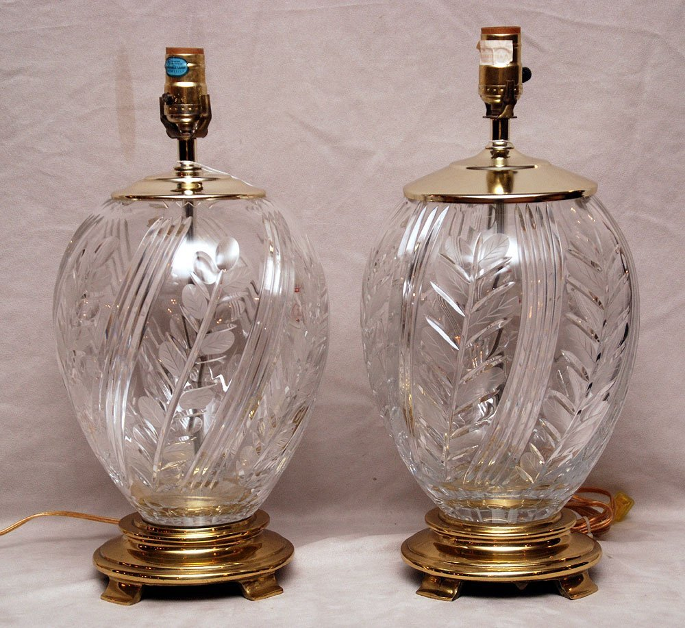 Pair of Crystal lamps with brass bases