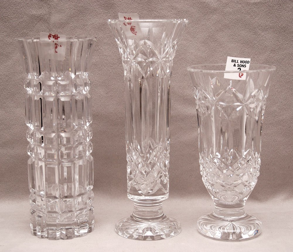 """2 Waterford vases (7""""h & 9""""h) and single unsigned vase"""