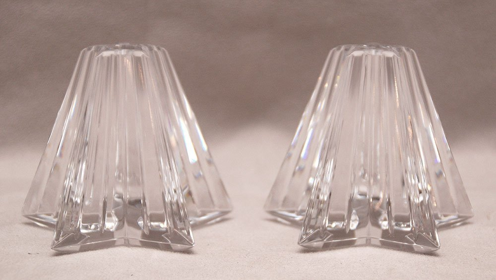 """Pair of Waterford candleholders (5""""h) AND pair of Water"""