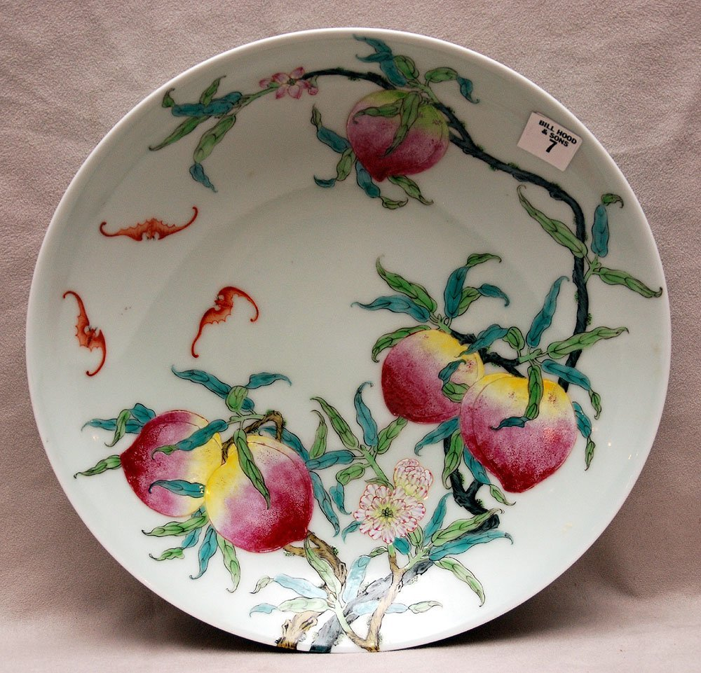 Antique Chinese charger with peaches and bats, Yung Che