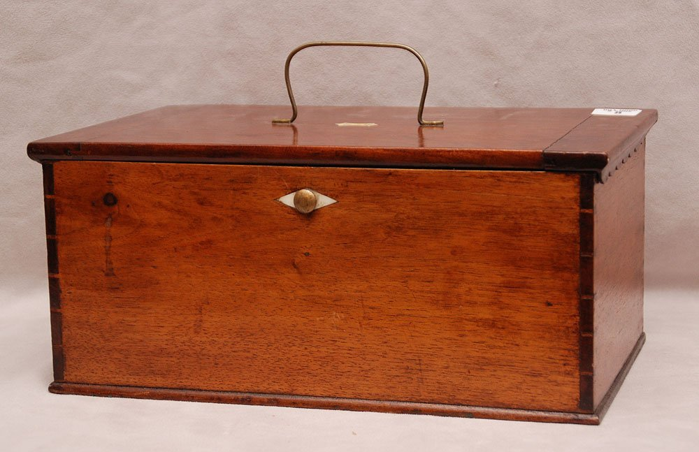 19th c. Early American wood box with bale handle at top