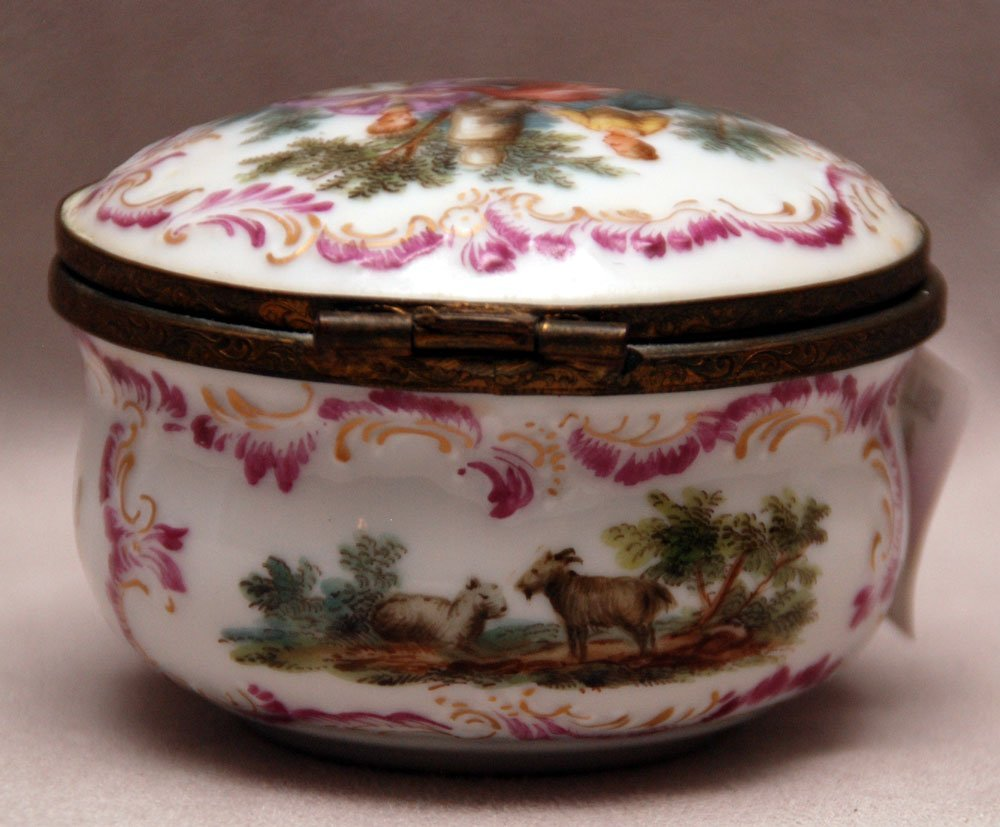 """Early hand painted porcelain box, country scenes, 2""""h x"""