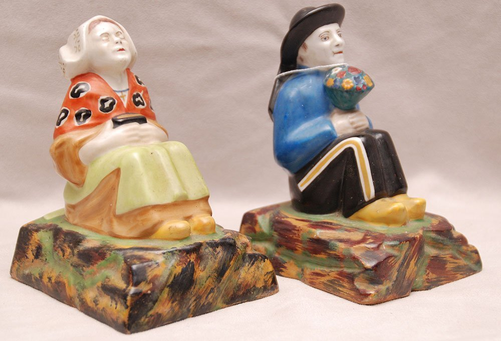 """Pair of French figural Faience bookends, 6""""h x 4""""w"""