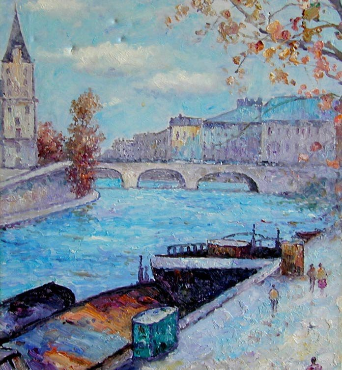 John Clymer (English b1932) Paris Oil An impressionist  - 2