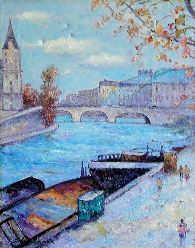 John Clymer (English b1932) Paris Oil An impressionist  - 3