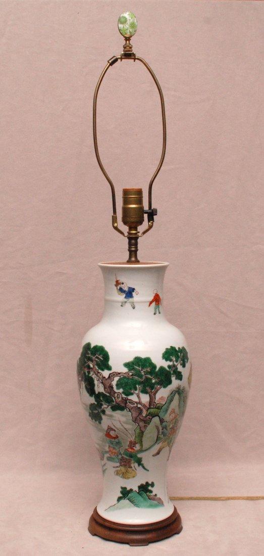 "Oriental lamp with landscape design, 17""h"