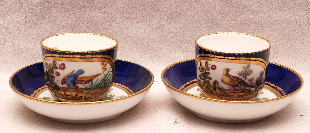 Pair 18th c. Sevres cups and saucers