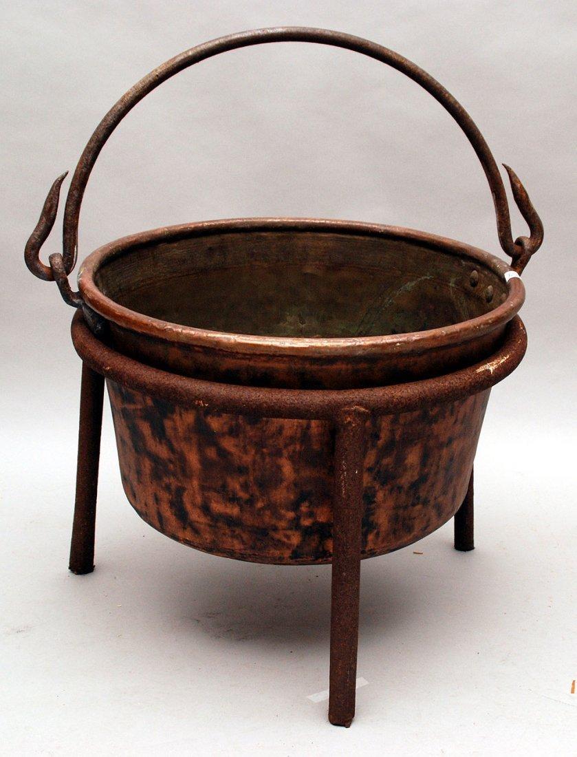 Copper Apple Butter kettle, stamped J.P. Schaum, hand m