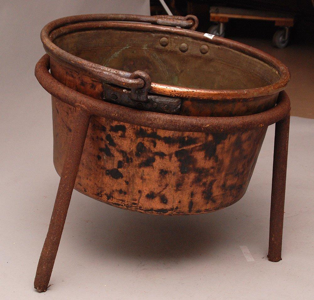 Copper Apple Butter kettle, stamped J.P. Schaum, hand m - 2