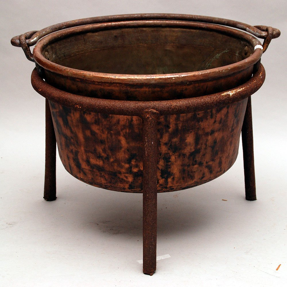 Copper Apple Butter kettle, stamped J.P. Schaum, hand m - 3