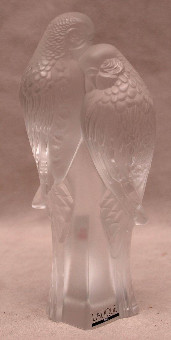 """2 Lalique attached birds, 7""""h"""