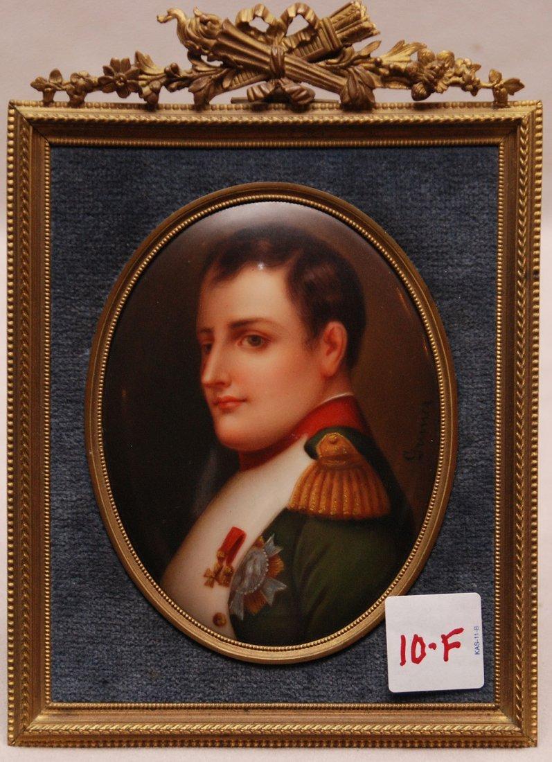 """Painting on porcelain of Napolean, signed Gurner, 8""""h"""