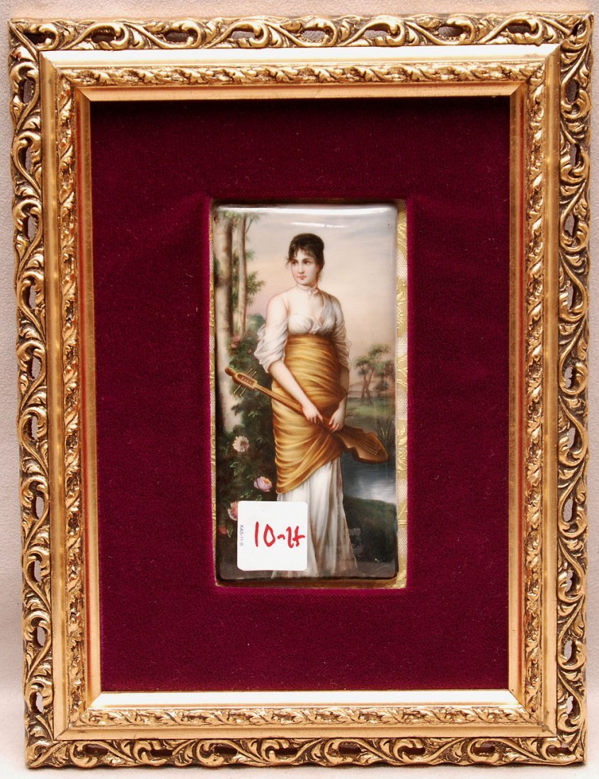 Painting on porcelain of girl with musical instrument,