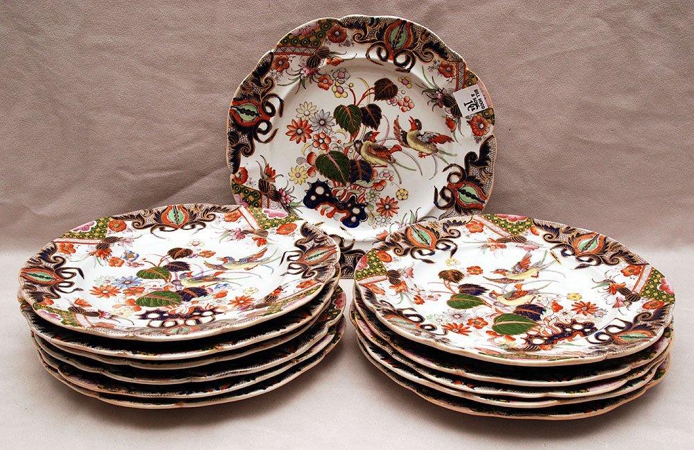 "12 plates, ""Mason's Patent Ironstone""  10 1/4""dia"